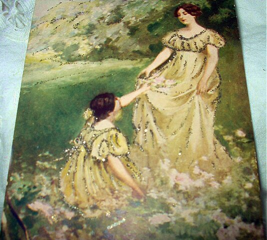 LOVELY UNUSED POSCARD-VICTORIAN WOMAN,GIRL IN YELLOW DRESS