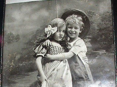 THE YOUNG LOVERS Large Antique Real Photo Print