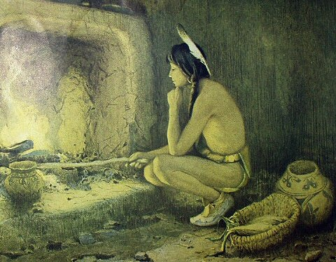 1904 E.IRVING COUSE-TAOS INDIAN ROASTING CORN Print