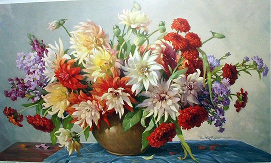 **REDUCED**Gorgeous FLORAL Western Germany Lithograph - Vase of Lovely DAHLIAS