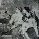 THE THREE SISTERS-F.Lafon Antique Bookplate,Sisters of the Art