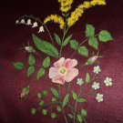 Antique Handpainted Burgandy Silk-Cosmos, Lily Of Valley Flowers