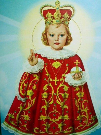 CHILD OF PRAGUE-Vibrant Vintage Lithograph Christ Child
