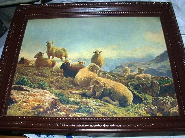 c1900 AUGUSTE BONHEM-GRAZING SHEEP IN MOUNTAINS-Print ONLY-NO Frame