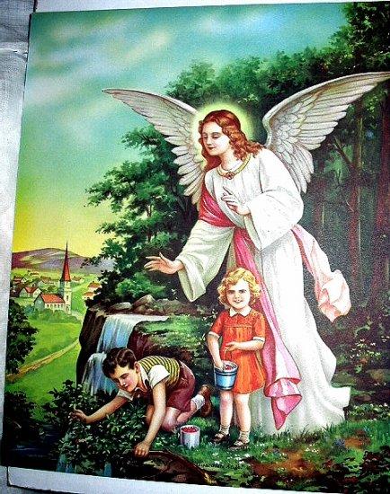 GUARDIAN ANGEL Vintage Lithograph print-Angel Watching Children