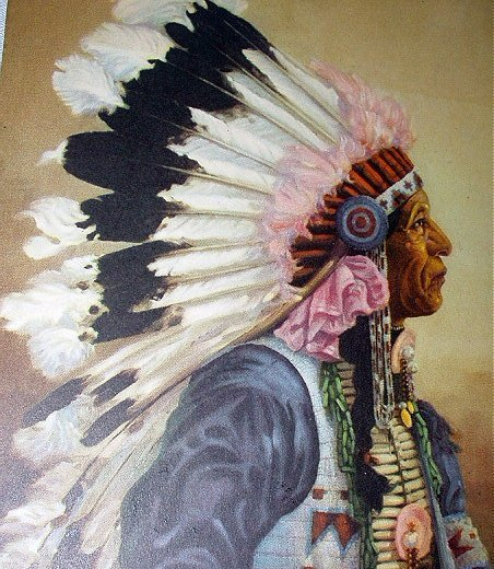 1941 Calendar Art-J.WILL BREWER-Indian Chief in Headdress