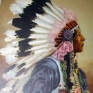 1941 Calendar Art-J.WILL BREWER-Indian Chief in Headdress