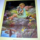 SPRINGTIME IN WONDERLAND-HY HINTERMEISTER,Little Girl,Puppy,Birds