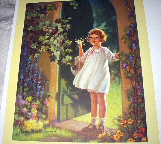 MABEL ROLLINS HARRIS-GOOD MORNING-Lithograph Sweet Girl,Robin with Nest,Floral Blooms