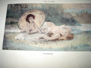 PAUL TILLIER-Antique HandColored Print-Two Nude Nymph Women Sunbathing