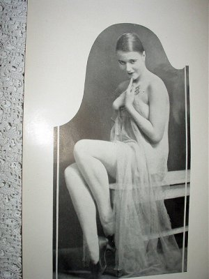 Sexy Scantly Clad Nude Nymph Posing Demurely Vintage Print