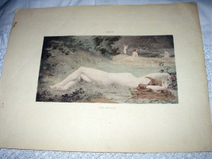 1800sHandcolored Print-THIVET-NUDE Nymphs Laying,Playing Near Water