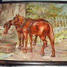 Antique1897Chromolithograph-Pair Chestnut Horses-DAYS WORK-ALBERT WILLIAMS