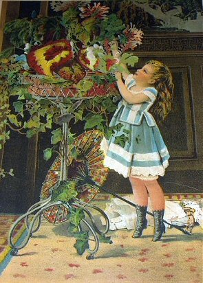 Sweet Victorian Girl Picking Flowers-Late 1800s Chromolithograph-LITTLE MISCHIEF