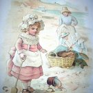 1800s Print-Sweet Girl In Bonnet Playing By Beach Chromolithograph