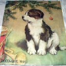 1931 Magazine Cover Artwork-Sweet Puppy Under Christmas Tree