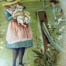 1800s Sweet Chromolithograph-Girl Holding Puppy