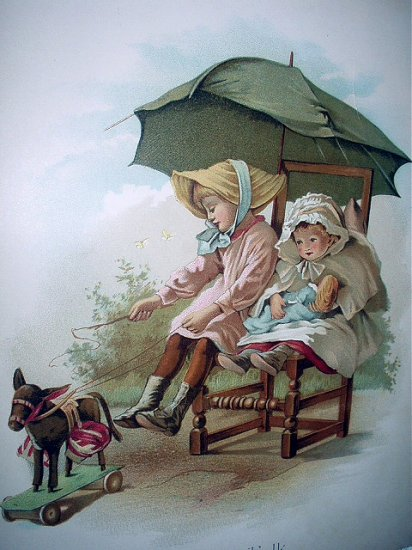 1800s Chromolithograph-CARRIAGE FOLK-Two Girls Playing Riding A Carriage