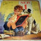 HY HINTERMEISTER-Mazazine Page Artwork-Young School Boy Studying with Dog