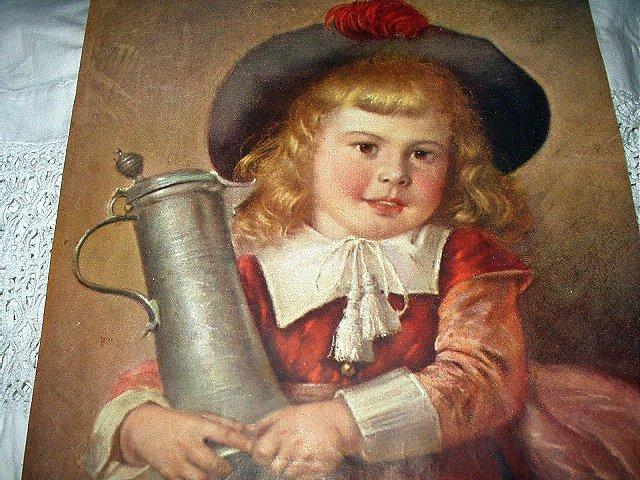 Vintage Print-Blonde Haired Girl Holding Drink Tankard-E.LOUYET