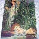 DELAROCHE-Moses in the Brushes on the Nile-Vintage Lithograph Print