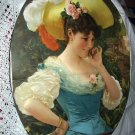 FABULOUS ANTIQUE PRINT-LADY IN FEATHER HAT-ANDREOTTI