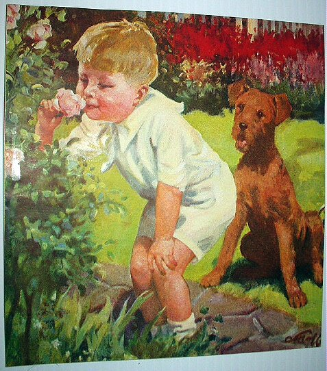 Little Boy Smelling Roses,Watching Airedale Dog-Vintage Illustration