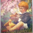 Little Girl with her Pet Ducks-FRIENDS- Vintage Illustration