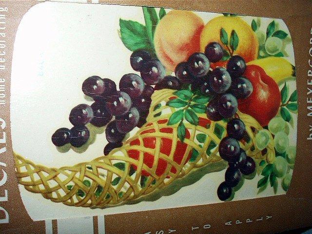 VINTAGE UNUSED MEYERCORD DECAL#840-C BOUNTIFUL FRUIT IN WICKER HORN