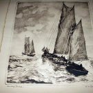 RARE-R.H.PALENSKE-MORNING BREEZE-Lithograph Sepia Print-Two Large Clipper Ships