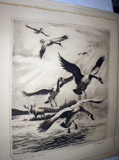 R.H.PALENSKIE-Coming Out Of The Clouds-Vintage Dry Point Print-Canadian Geese and Moose
