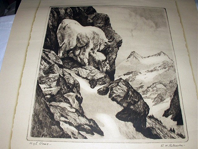 R. H. PALENSKE-HIGH GAME-Pair of Mountain Goats in Vast Mountains-Vintage Print