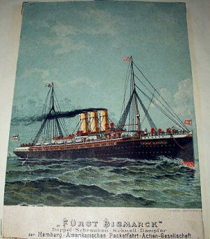 Antique Print-FURST BISMARCK-Sailing Vessel Out To Sea