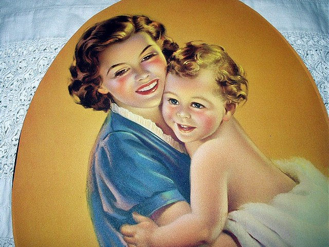 RARE-HOWARD CONNOLLY Lithograph Print-Loving Mother Holding Child