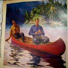 1930s Men In Red Canoe Fishing-Vintage Lithograph Print-WILLIAM EATON