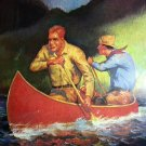 THE RACE-1930 Vintage Lithograph Print-Men In Canoe Outriding Thunderstorm-W.A.CHEEVER
