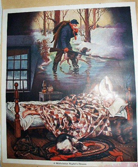 A MIDWINTER NIGHT'S DREAM-Vintage Lithograph Print-W.B. PARSONS