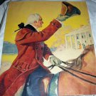 Colorful Illustration-George Washington Riding Horse Waves,Mount Vernon