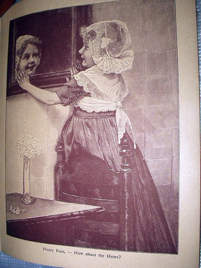 Antique Sepia Lithograph Print-Pretty Little Girl Smiling In Mirror-