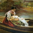 c1900 Lovely Maiden Holding Baby in Row Boat Antique Chromolithograph Print