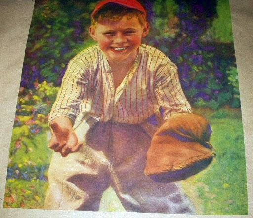 BOY PLAYING BASEBALL WITH HIS CATCHERS MITT-VINTAGE ILLUSTRATION