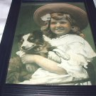 Sweet 1907 Print-Little Girl in Hat Holding Miniature Collie Dog