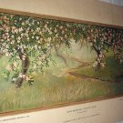 1885-APPLE BLOSSOMS-GORGEOUS-ORIGINAL ANTIQUE CHROMOLITHOGRAPH PRINT-GEORGE GIBSON