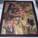 *Reduced Price!LOVELY ANTIQUE JAPANESE GEISHA GIRLS,CHERRY BLOSSOM GARDEN,DOGWOOD FLOWERS-BEAUTIFUL!