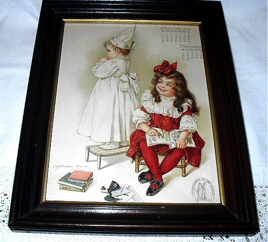 1903 MAUD HUMPHREY-LITTLE SISTERS PLAYING SCHOOL-ANTIQUE WALNUT FRAME