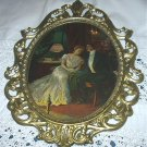 Sweet Courting Victorian Couple Sitting in Parlor-Oval Metal Convex Frame