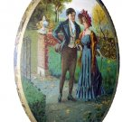 Edwardian Couple Walking In Park-Oval Convex Metal Frame