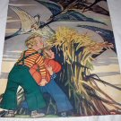 Autumn Winds,Halloween Pumpkins, Kids, Vintage Magazine Artwork Illustration-ARTIST SIGNED