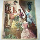 Victorian Christmas Gathering Decorating Home Vintage Lithograph Print