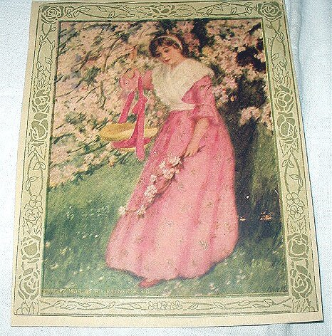 1909 Lovely Victorian Lady in Pink Under Flowered Tree Antique Print